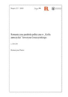 """Romantyczna parabola polityczna w """"Królu zamczyska"""" Seweryna Goszczyńskiego"""