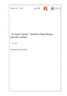 """""""Do mego Cenzora"""". Stanisława Starzyńskiego potyczki z zoilami"""