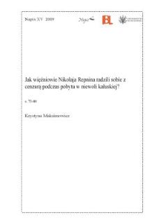 Jak więźniowie Nikołaja Repnina radzili sobie z cenzurą podczas pobytu w niewoli kałuskiej?