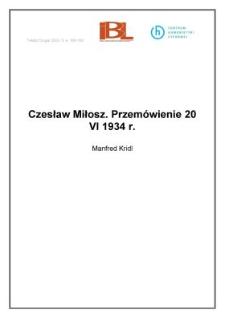 Czesław Miłosz. Przemówienie 20 VI 1934 r.