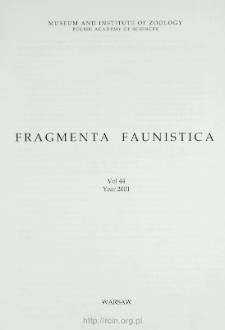 Fragmenta Faunistica - Spis treści - t. 44, nr. 1-2 (2001)