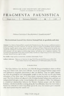 The invertebrate fauna of Góry Stołowe National Park, its specificity and value
