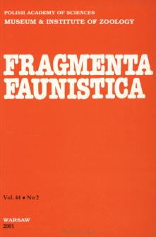 Fragmenta Faunistica - Strony tytułowe, spis treści - t. 44, nr 2 (2001)
