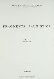 Fragmenta Faunistica - Strony tytułowe, spis treści - t. 43, nr. 1-17 (2000)