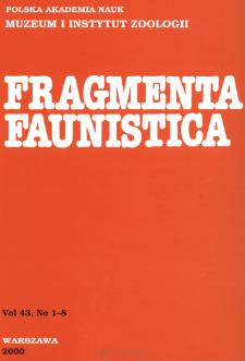 Fragmenta Faunistica - Strony tytułowe, spis treści - t. 43, nr. 1-8 (2000)