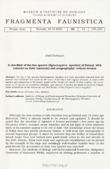A checklist of the bee species (Hymenoptera, Apoidea) of Poland, with remarks on their taxonomy and zoogeography: revised version