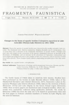 Changes in the fauna of aquatic beetles (Coleoptera aquatica) in Lake Luterskie (Olsztyn Lake District) in 1981-1993