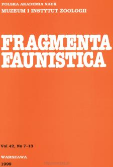 Fragmenta Faunistica - Strony tytułowe, spis treści - t. 42, nr. 7-13 (1999)