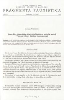 "Crane-flies (Limoniidae, Diptera) of Roztocze and of a part of ""Puszcza Solska"" (Kotlina Sandomierska)"