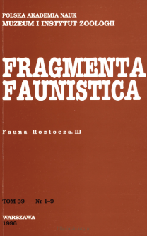 Fragmenta Faunistica - Strony tytułowe, spis treści - t. 39, nr. 1-9 (1996)