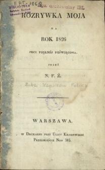 Rozrywka Moja na Rok 1826 Płci Pięknej Poświęcona