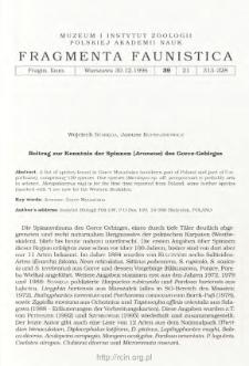 Beitrag zur Kenntnis der Spinnen (Araneae) des Gorce-Gebirges