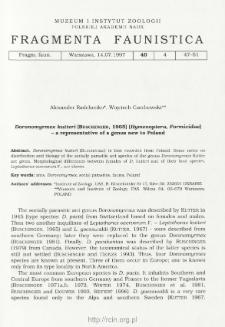 Doronomyrmex kutteri (Buschinger, 1965) (Hymenoptera, Formicidae - a representative of a genus new to Poland