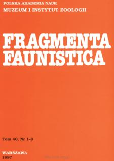 Fragmenta Faunistica - Strony tytułowe, spis treści - t. 40, nr. 1-9 (1997)