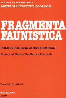 Fragmenta Faunistica - Strony tytułowe, spis treści - t. 40, nr. 16-31 (1997)