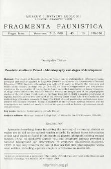 Faunistic studies in Poland - historiography and stages of development