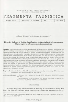 Diversity indices of double classification in the study of Ichneumoninae (Hymenoptera, Ichneumonidae) communities