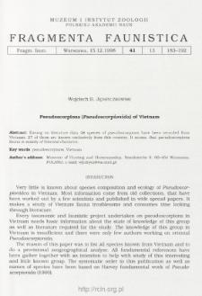 Pseudoscorpions (Pseudoscorpionida) of Vietnam