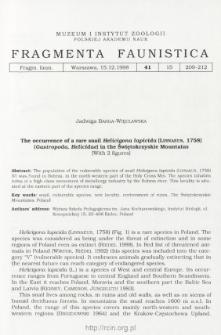 The occurrence of a rare snail Helicigona lapicida (Linnaeus, 1758) (Gastropda, Helicidae) in the Świętokrzyskie Mountains