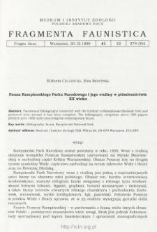 Fauna Kampinoskiego Parku Narodowego i jego otuliny w piśmiennictwie XX wieku