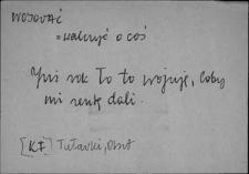 Kartoteka Słownika Gwar Ostródzkiego, Warmii i Mazur, Wojować - Wsuwanie