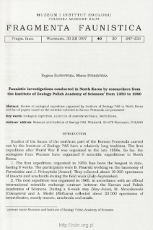 Faunistic investigations conducted in North Korea by researchers from the Institute of Zoology Polish Academy of Sciences from 1959 to 1990