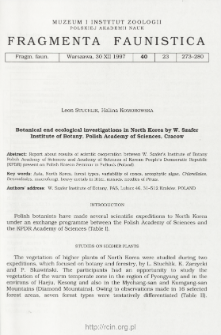 Botanical end [sic!] ecological investigations in North Korea by W. Szafer Institute of Botany, Polish Academy of Sciences, Cracow