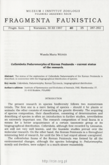 Collembola Poduromorpha of Korean Peninsula - current status of the research