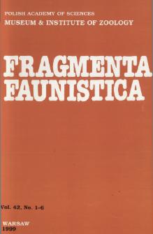 Fragmenta Faunistica - Strony tytułowe, spis treści - t. 42, nr. 1-6 (1999)