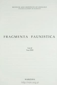 Fragmenta Faunistica - Strony tytułowe, spis treści - t. 45, nr. 1-2 (2002)