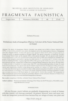 Preliminary study of mosquitoes (Diptera: Culicidae) of the Narew National Park in Poland