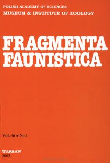 Fragmenta Faunistica - Strony tytułowe, spis treści - t. 46, nr. 1 (2003)