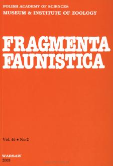 Fragmenta Faunistica - Strony tytułowe, spis treści - t. 46, nr. 2 (2003)