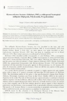 Myrmecodesmus hastatus (Schubart, 1945), a widespread Neotropical millipede (Diplopoda, Polydesmida, Pyrgodesmidae)