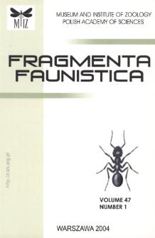 Fragmenta Faunistica - Strony tytułowe, spis treści - t. 47, nr. 1 (2004)