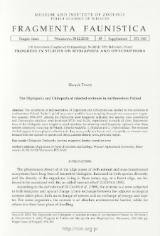 The Diplopoda and Chilopoda of selected ecotones in northwestern Poland
