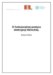 O funkcjonalnej poetyce deskrypcji literackiej