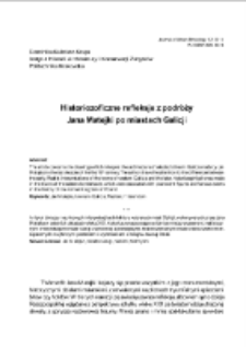 Historiozoficzne refleksje z podróży Jana Matejki po miastach Galicji