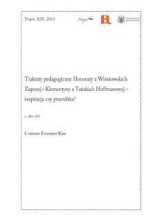 Traktaty pedagogiczne Honoraty z Wiśniowskich Zapovej i Klementyny z Tańskich Hoffmanowej – inspiracja czy przeróbka?