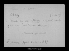 Obesy. Files of Sochaczew district in the Middle Ages. Files of Historico-Geographical Dictionary of Masovia in the Middle Ages