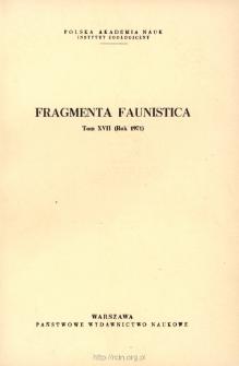 Fragmenta Faunistica - Strony tytułowe, spis treści - t. 17, nr. 1-21 (1971)