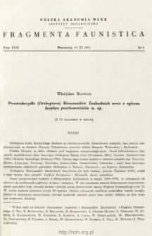 Prostoskrzydłe (Orthoptera) Bieszczadów Zachodnich wraz z opisem Isophya posthumoidalis n. sp.