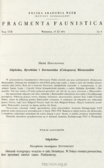 Silphidae, Byrrhidae i Dermestidae (Coleoptera) Bieszczadów
