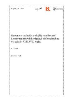 Gorzka przychylność czy słodkie rozmiłowanie? Rzecz o małżeństwie i związkach nieformalnych na wsi polskiej XVII-XVIII wieku