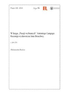 """W kręgu """"Poezji wybranych"""" Antoniego Langego. Recenzja wydawnicza Jana Brzechwy"""