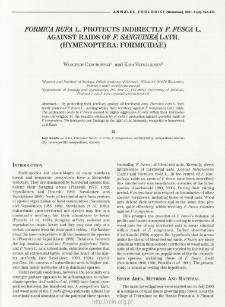 Formica rufa L. protects indirectly F. fusca L. against raids of F. sanguinea Latr. (Hymenoptera: Formicidae)