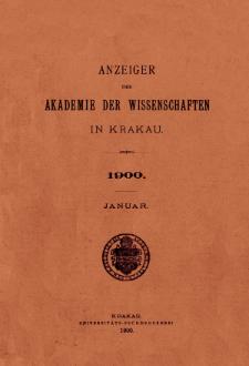 Anzeiger der Akademie der Wissenschaften in Krakau. No 1 Januar (1900)