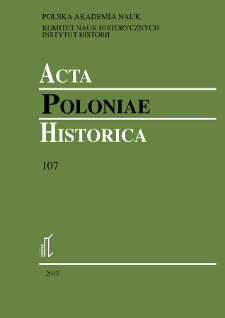 Acta Poloniae Historica. T. 107 (2013), Title pages, Contents