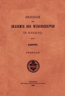 Anzeiger der Akademie der Wissenschaften in Krakau. No 2 Februar (1900)