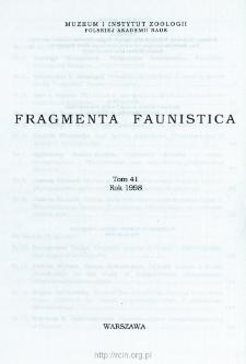 Fragmenta Faunistica - Strony tytułowe, spis treści - t. 41, nr. 1-22 (1998)